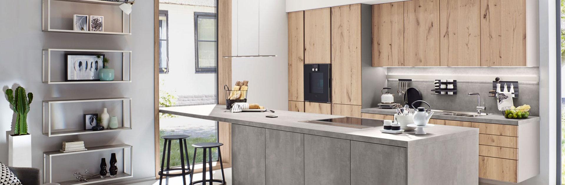 Betonlook keuken en houten keukenkasten | Eigenhuis Keukens